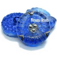 18mm Flower Button Transparent Glass with Sapphire Glitter and Silver Accents