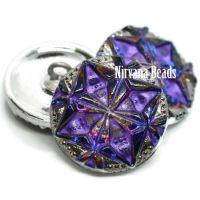 18mm Gem Button Volcano with Purple Wash and Silver Accents