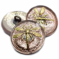 18mm Dragonfly Button Peach with a Gold Dragonfly
