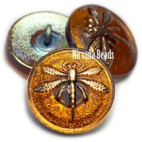 18mm Dragonfly Button Pumpkin with AB Finish and Gold Dragonfly