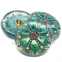 27mm Wheel Button Transparent Glass with Sea Green and Gold Accents and a Black Wash