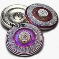 36mm Mandala Button Volcano with a White Wash