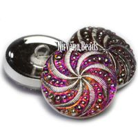 18mm Pinwheel Button Vitrail Medium with Silver Accents