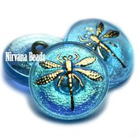 18mm Dragonfly Button Medium Sky Blue with An AB Finish and a Gold Dragonfly