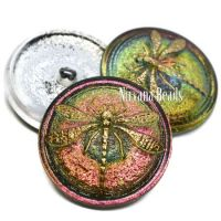31mm Dragonfly Button Vitrail Medium with a Gold Dragonfly