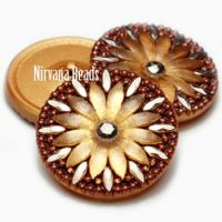31mm Flower Button Gold with Silver and Copper Accents