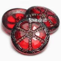 27mm Wheel Button Ruby Red with Black and Gold Accents