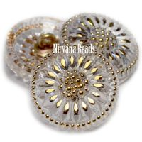 18mm Daisy Button Transparent Glass with Gold Accents
