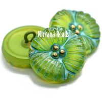 18mm Flower Button Green Apple with a Sea Green Wash and Gold Accents