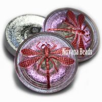 22mm Dragonfly Button Vitrail Light with a Red Dragonfly