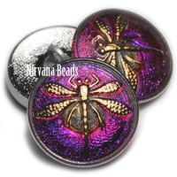 18mm Dragonfly Button Volcano with a Gold Dragonfly