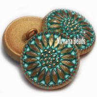 18mm Daisy Button Gold with a Tea Green Wash