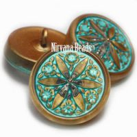 18mm Star Flower Button Gold with a Tiffany Wash