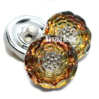 13mm Button Volcano with Silver Accents