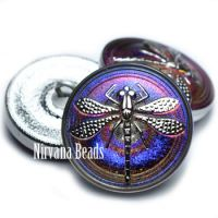 22mm Dragonfly Button Volcano with a Silver Dragonfly