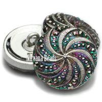 18mm Pinwheel Button Vitrail with Silver Accents