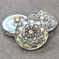 18mm Mandala Button Transparent Glass with a Black Wash, AB Finish, and Silver Accents