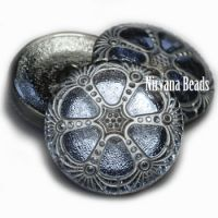 27mm Wheel Button Cadet Blue with a Silver Wash