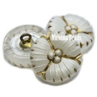 18mm Flower Button White Pearl with a Brown Wash