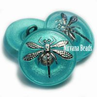 18mm Dragonfly Button Medium Sky Blue with a Silver Dragonfly