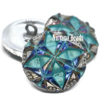 18mm Gem Button Volcano with Sea Green Wash and Silver Accents