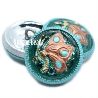 18mm Butterfly Button Sea Green and Copper