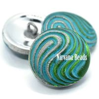 18mm Swirl Button Green Apple with a Sea Green Wash and Silver Accents