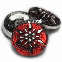 18mm Star Button Ruby Red with a Silver Star