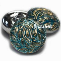 18mm Laurel Wreath Button Medium Sky Blue with Gold Accents