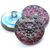 18mm Mandala Button Dark Raspberry