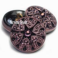 18mm Decorative Button Black with Hyacinth Accents