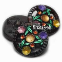 22mm Floral Wheel Button Eggplant with Multi Color Mix Flowers