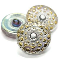 18mm Mandala Button Transparent Pearl with An AB Finish and Gold and White Accents