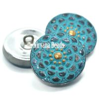 18mm Mandala Button Slate Blue with a Sea Green Wash and Gold Accents