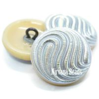 18mm Swirl Button Bone with a Silver Wash and AB Finish