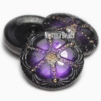 27mm Wheel Button Purple Pansy with Black and Gold Accents