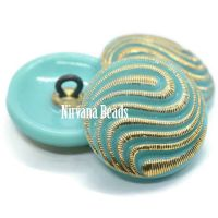 18mm Swirl Button Sea Green with Gold Accents