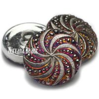 18mm Pinwheel Button Volcano with Silver Accents