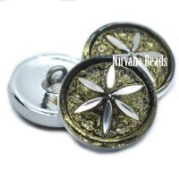 18mm Star Flower Button Olive and Silver