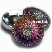 18mm Daisy Button Volcano with Silver Accents