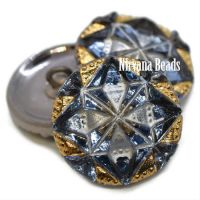 18mm Gem Button Metallic Blue Grey with White and Gold Accents