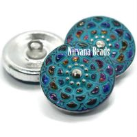 18mm Mandala Button Volcano with a Sea Green Wash and Silver Accents
