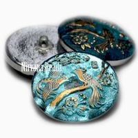 27mm Peacock Button Medium Sky Blue with Gold Accents