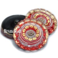 22mm Flower Button Transparent Glass and Scarlet Red with Gold Accents