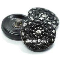 18mm Mandala Button Black with Silver Accents