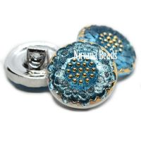 18mm Daisy Button Medium Sky Blue with Gold Accents
