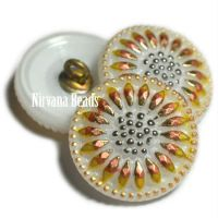 18mm Daisy Button White with Yellow and Gold Accents