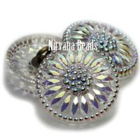 18mm Daisy Button Transparent Glass with AB Accents.