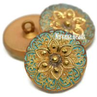 18mm Arabian Star Button Gold and Tiffany Green