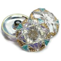 18mm Gem Button Transparent Glass with AB Finish and Gold and Sea Green Accents
